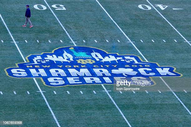 General View of the Shamrock Series Logo on the field inside of Yankee Stadium prior to the College Football game between the Notre Dame Fighting...