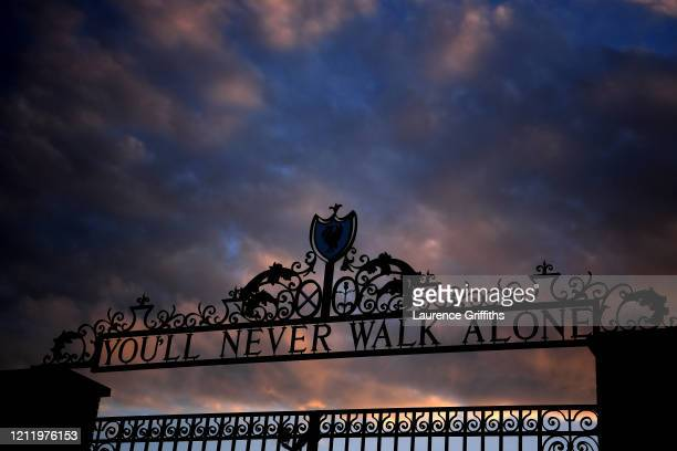 A general view of the Shankly Gates as the sun goes down ahead of the UEFA Champions League round of 16 second leg match between Liverpool FC and...
