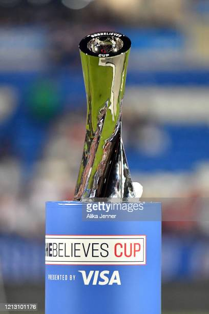 A general view of the SheBelieves Cup trophy at Toyota Stadium on March 11 2020 in Frisco Texas