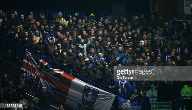 A general view of the Sheffield Wednesday fans on the terraced corner of the ground during the Sky Bet Championship match between Sheffield Wednesday...