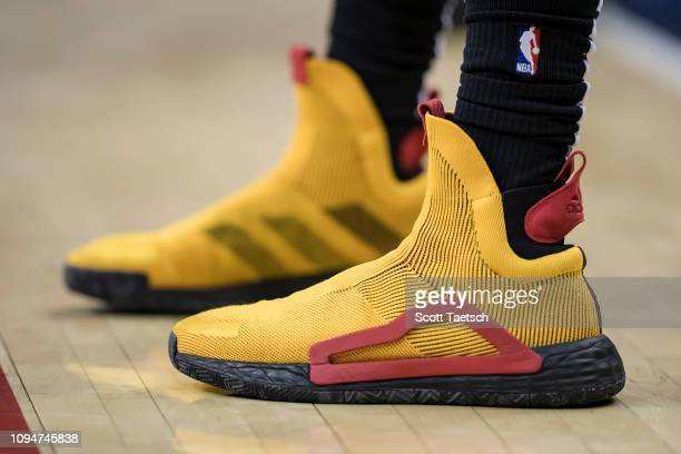A general view of the shoes of DeAndre' Bembry of the Atlanta Hawks during the second half against the Washington Wizards at Capital One Arena on...