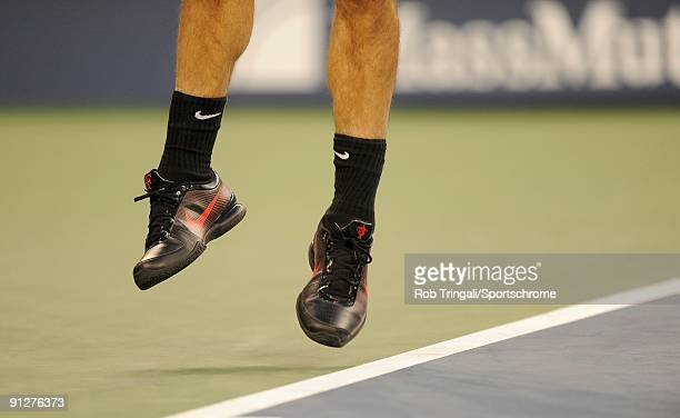 A general view of the shoes of Roger Federer as he serves to Simon Greul during day three of the 2009 US Open at the USTA Billie Jean King National...