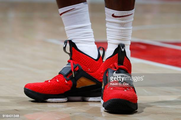 A general view of the shoes worn by LeBron James of the Cleveland Cavaliers during the game against the Atlanta Hawks at Philips Arena on February 9...