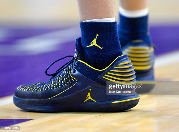 A general view of the shoes worn by Michigan Wolverines guard Duncan Robinson during the game between the Northwestern Wildcats and the Michigan...