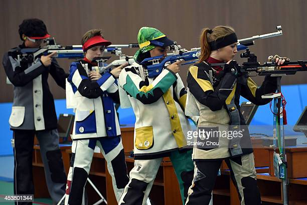 General view of the shooters during the 2014 Summer Youth Olympic Games Day 3 of the Girls 10m Air Rifle Final at the Fangshan Shooting Hall on...