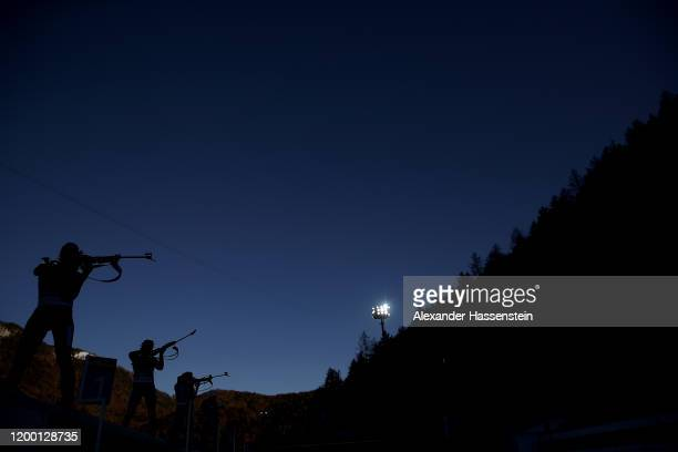 General view of the shooting range during the Women 4x6 km Relay Competition at the BMW IBU World Cup Biathlon Ruhpolding on January 17 2020 in...