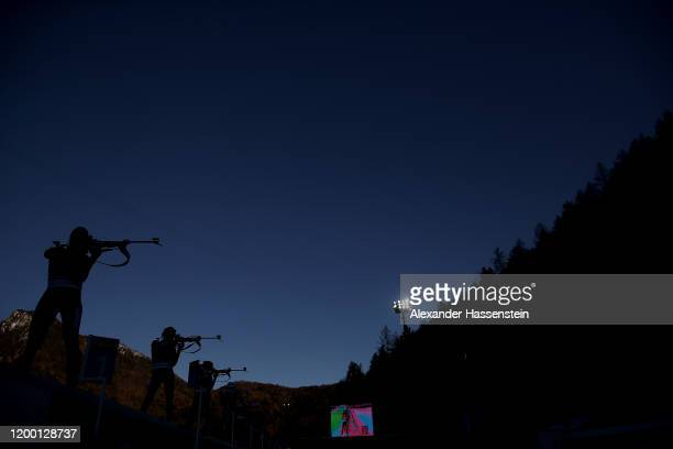 General view of the shooting range during the Women 4x6 km Relay Competition at the BMW IBU World Cup Biathlon Ruhpolding on January 17, 2020 in...