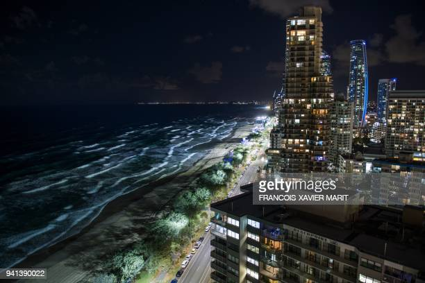 A general view of the shoreline is seen ahead of the 2018 Commonwealth Games on Australia's Gold Coast on April 3 2018