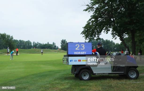 A general view of the 'shot clock' as David Horsey of England putts on the 10th green during day one of the 2018 Shot Clock Masters at Diamond...