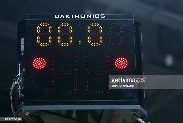 General view of the shot clock during a WNBA game between Minnesota Lynx and Connecticut Sun on July 6 at Mohegan Sun Arena in Uncasville, CT.