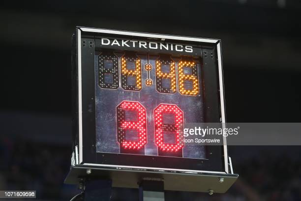 A general view of the shot clock during an NCAA basketball game between the New Mexico State Aggies and Kansas Jayhawks on December 8 2018 at Sprint...