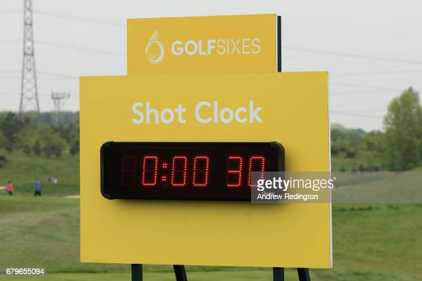 General View of the shot clock on the 4th hole during day one of GolfSixes at The Centurion Club on May 6 2017 in St Albans England