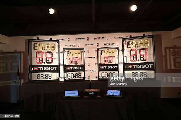 A general view of the shot clock the during Tissot press announcement as part of the 2016 Global Games China at Mercedes Benz Arena on October 8 2016...