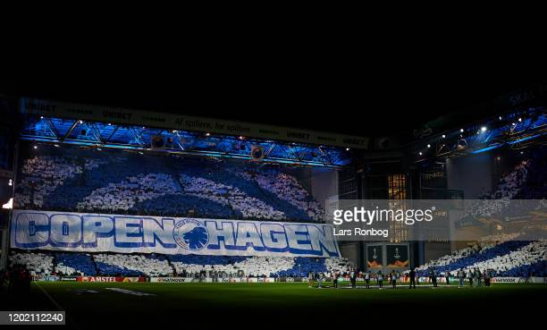 General view of the show from the LED floodlights prior to the UEFA Europa League Round of 32 1st Leg match between FC Copenhagen and Celtic FC at...