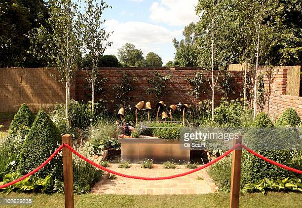 A general view of the show garden 'Snow White's Slumber' during the press preview day of the Hampton Court Palace Flower Show on July 5 2010 in...