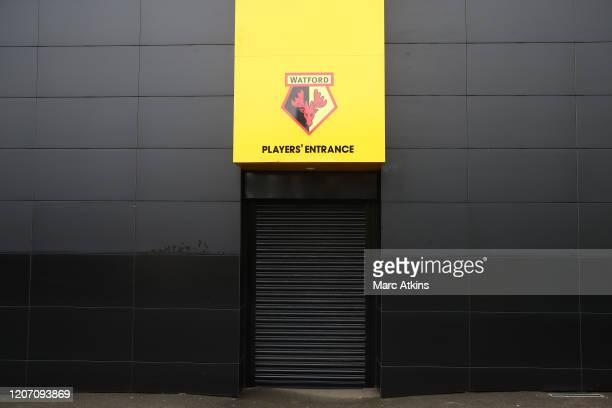 General view of the shuttered players entrance at Vicarage Road, home of Watford FC on the weekend all Premier League matches are postponed until...