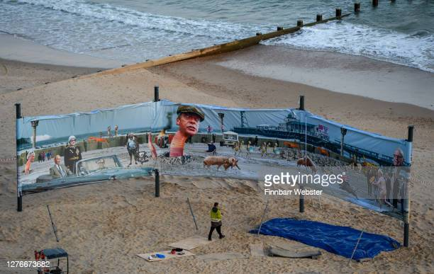 General view of the side of the artwork that will be censored on Boscombe beach on September 25, 2020 in Bournemouth, England. The satirical artist...