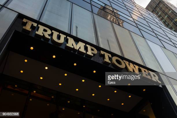 A general view of the sign and exterior of Trump Tower entrance the syscraper located on 5th Avenue midtown Manhattan New York is 664 feet tall...