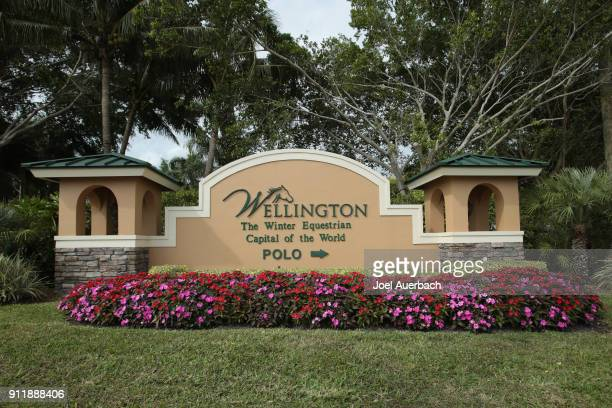 A general view of the sign describing Wellington as the 'Winter Equestrian Capital of the World' prior to the Joe Barry Cup Final between Tonkawa and...