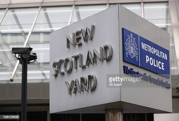 General view of the sign for the New Scotland Yard building in Victoria on January 27, 2011 in London, England. The Metropolitan Police have reopened...