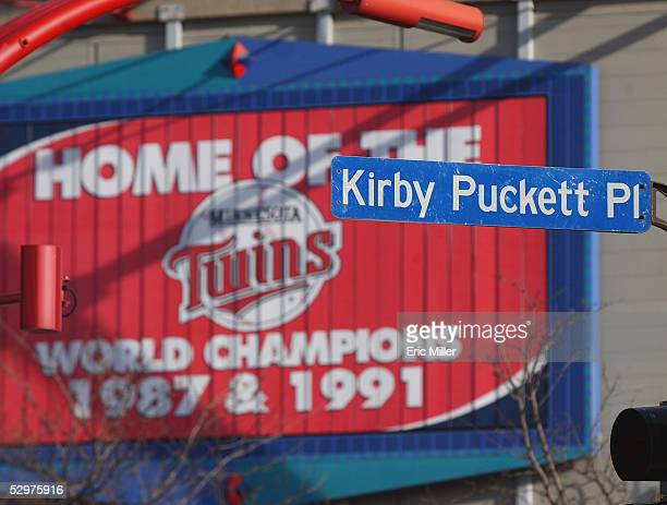 A general view of the sign 'Kirby Puckett Pl' taken during the game between the Minnesota Twins and the Chicago White Sox at the Metrodome on April 8...