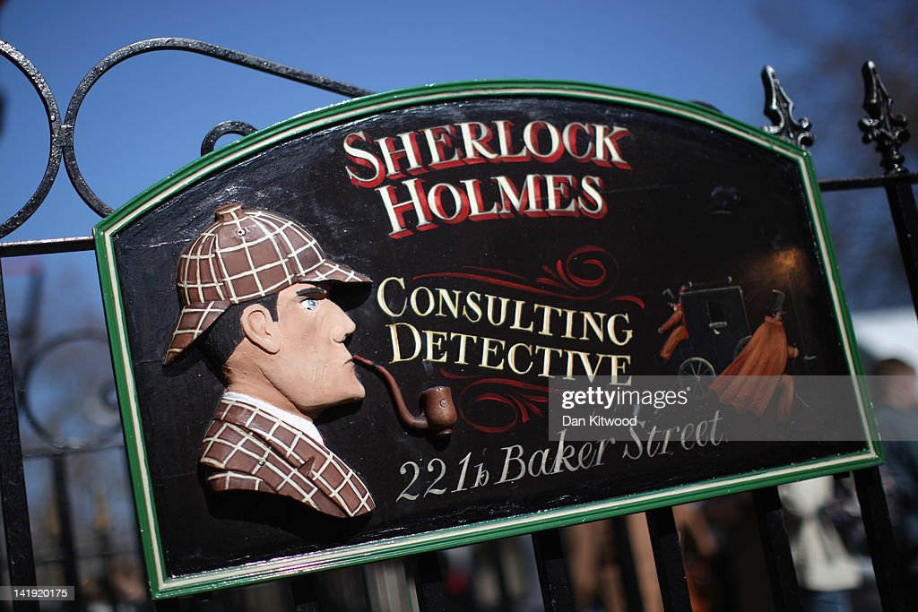 A general view of the sign outside the former home of the fictional Character Sherlock Holmes on March 26, 2012 in London, England. 221B Baker Street is the London address of the fictional detective Sherlock Holmes, which was created by author Sir Arthur Conan Doyle.