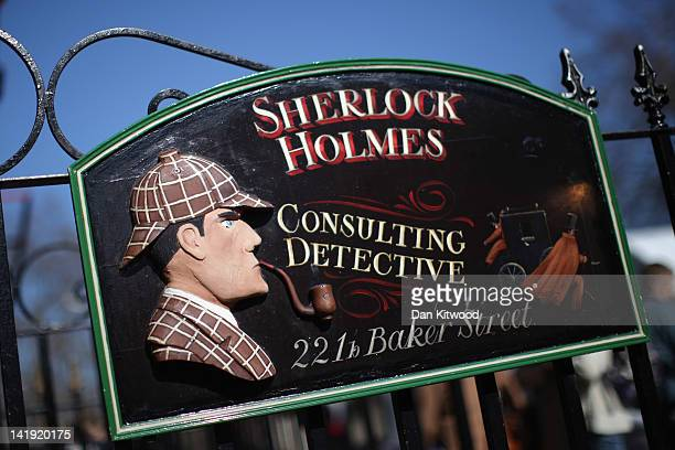 General view of the sign outside the former home of the fictional Character Sherlock Holmes on March 26, 2012 in London, England. 221B Baker Street...