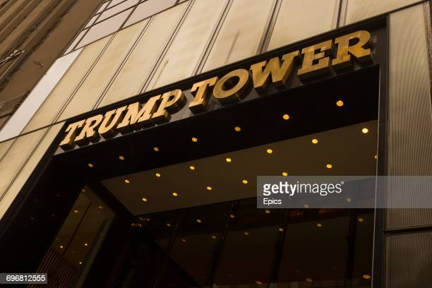 General view of the signage above the entance to the Trump Tower, located on 5th Avenue in midtown Manhattan, New York City, 21st January 2017. The...