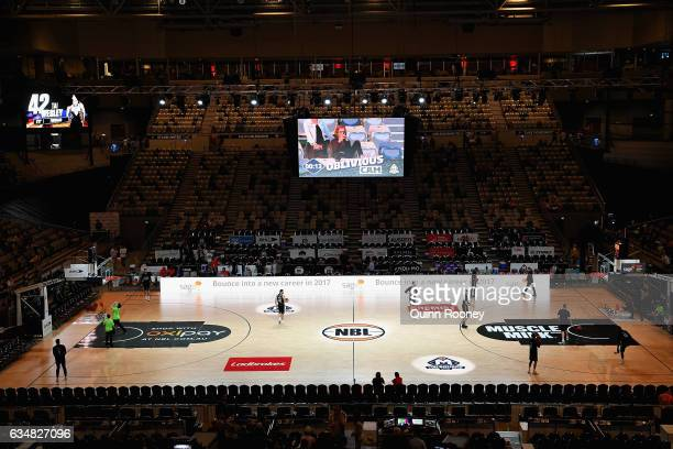 A general view of the signage on court during the round 19 NBL match between Melbourne United and the Perth Wildcats at Hisense Arena on February 12...