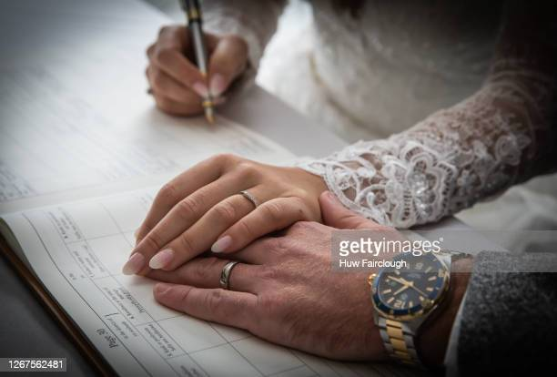 General view of the signing of a wedding certificate on November 30, 2019 in Blackwood, Wales, United Kingdom. The Welsh Government has announce a...