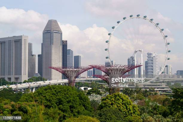 General view of the Singapore skyline on November 11, 2020 in Singapore. Singapore and Hong Kong authorities announced the launch of a...