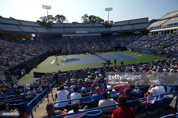 A general view of the Singles final between Dominika Cibulkova of Slovakia and Daria Gavrilova of Australia during Day 9 of the Connecticut Open at...