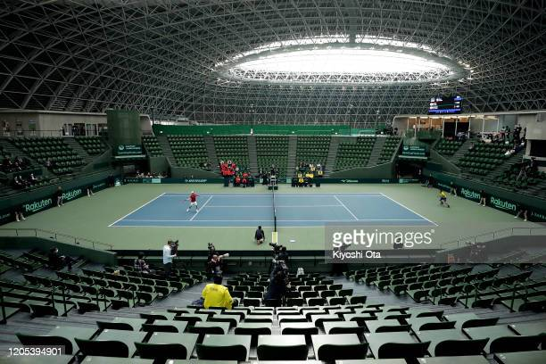 A general view of the singles match between Go Soeda of Japan and Emilio Gomez of Ecuador on day one of the Davis Cup qualifier between Japan and...