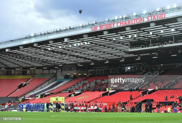 General view of the Sir Bobby Charlton Stand as both team's line up prior to the Premier League match between Manchester United and Leicester City at...