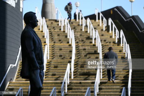 General view of the Sir Bobby Robson statue outside St James' Park Newcastle United v Burnley - Premier League - St James' Park .
