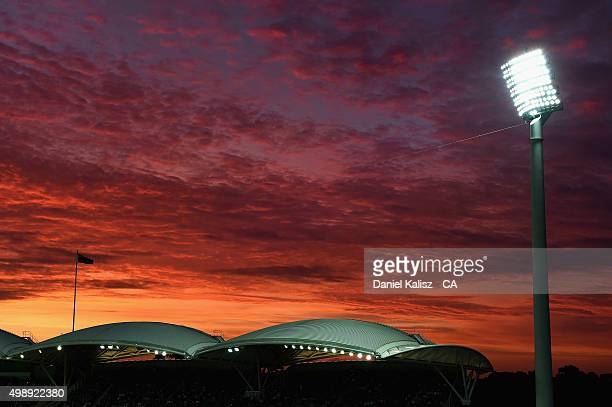 A general view of the Sir Edwin Smith stand during the firt sunset of a day/night test match during day one of the Third Test match between Australia...