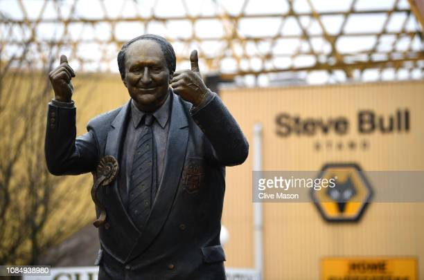 A general view of the Sir Jack Arnold Hayward OBE statue outside the Steve Bull stand prior to the Premier League match between Wolverhampton...