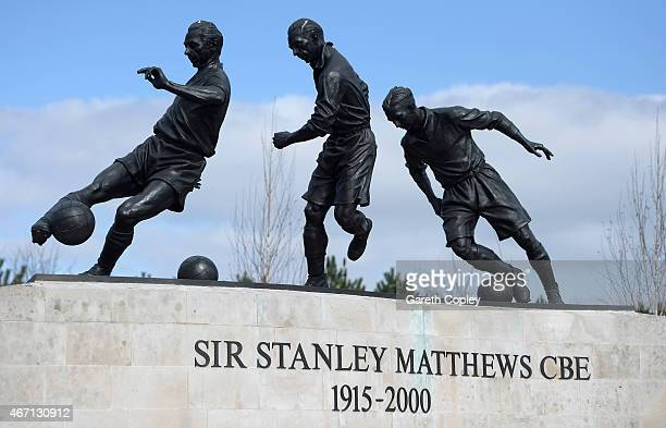 A general view of the Sir Stanley Matthews statue outside the stadium before the Barclays Premier League match between Stoke City and Crystal Palace...