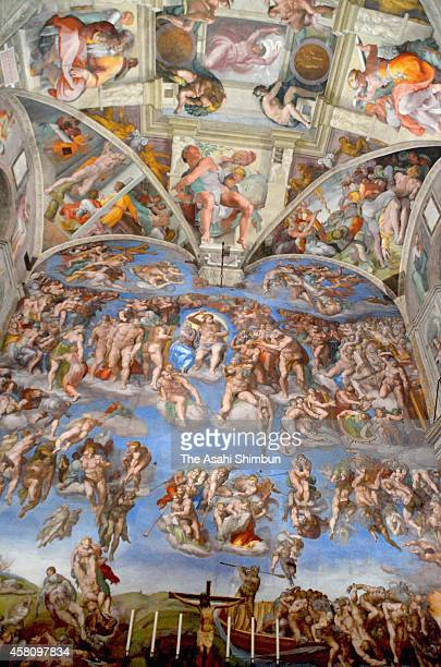 A general view of the Sistine Chapel during the press preview on October 27 2014 in Vatican City Vatican 7 000 LED lights and new air conditioning...