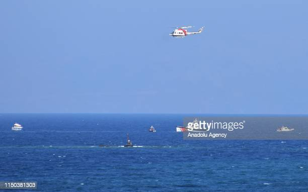 A general view of the site after search and rescue works conducted for missing people with boats a diving team and a helicopter ended in Bodrum...