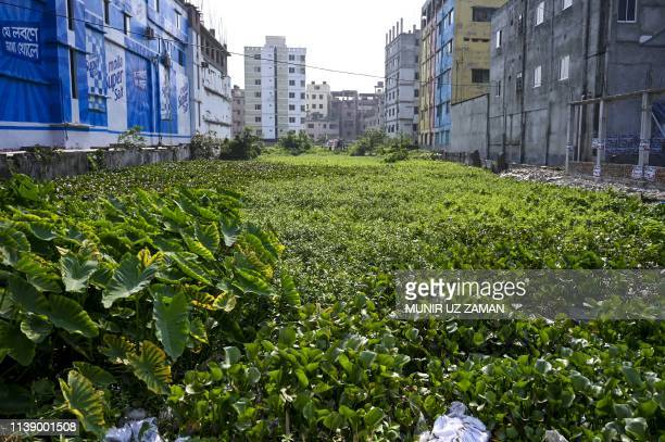 General view of the site of the former Rana Plaza building that collapsed during the sixth anniversary of the disaster at the site where the building...
