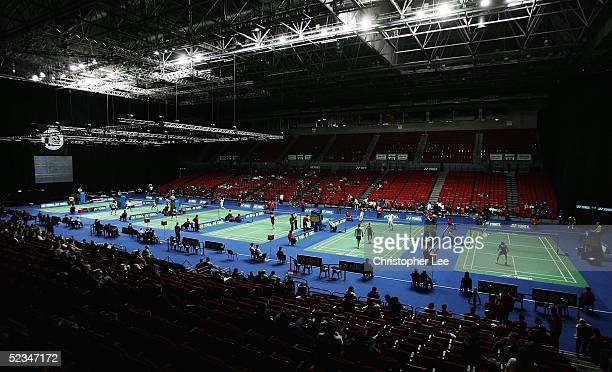 General View of the six badminton courts in the National Indoor Arena during the Yonex All England Open Badminton Championship Mixed Doubles at the...