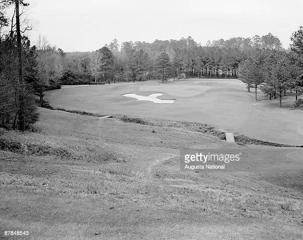 A general view of the sixth fairway and green with a water hazard at Augusta National Golf Club in April 1948 in Augusta Georgia
