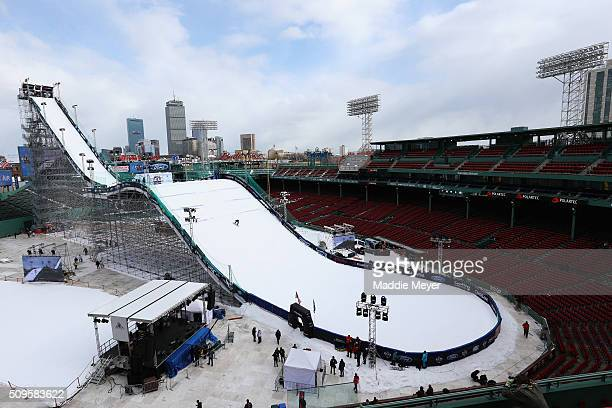 A general view of the ski and snowboarding ramp during Polartec Big Air Day 1 at Fenway Park on February 11 2016 in Boston Massachusetts