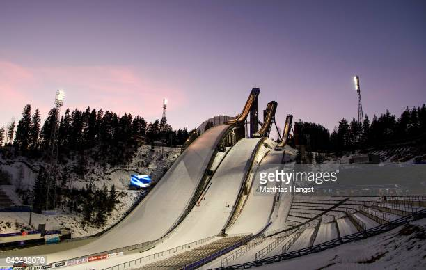 General view of the ski jump hills ahead of the FIS Nordic World Ski Championships on February 21, 2017 in Lahti, Finland.