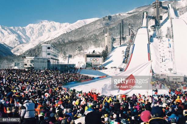 A general view of the Ski Jumping Normal Hill during day four of the Nagano Winter Olympic Games at Hakuba Ski Jumping Stadium on February 11 1998 in...