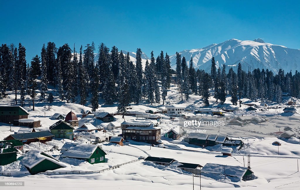 A general view of the ski resort on February 07, 2013 in Gulmarg, 54 km (35 miles) to the west of Srinagar, the summer capital of Indian-administered Kashmir, India. Skiers from around the globe have descended on the ski resort of Gulmarg, known for long-run skiing, snow-boarding, heli-skiing and steep mountains. Located less than six miles from the ceasefire line or Line of Control (LoC) that divides Kashmir between India and Pakistan. Tourists have begun to return to Kashmir as various foreign governments have relaxed their travel advisory warnings to citizens travelling in the previously strife-torn region.