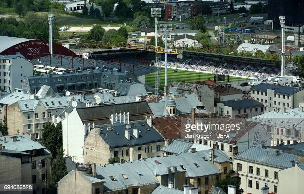 A general view of the Skonto Stadium ahead of the FIFA 2018 World Cup Qualifier between Latvia and Portugal at Skonto Stadium on June 9 2017 in Riga...