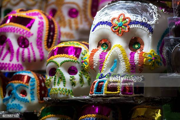 General view of the skullshaped products sold during the Day of the Dead on October 24 2016 in Mexico City Mexico