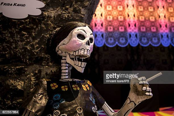 General view of the skullshaped products sold during the Day of the Dead on October 21 2016 in Mexico City Mexico